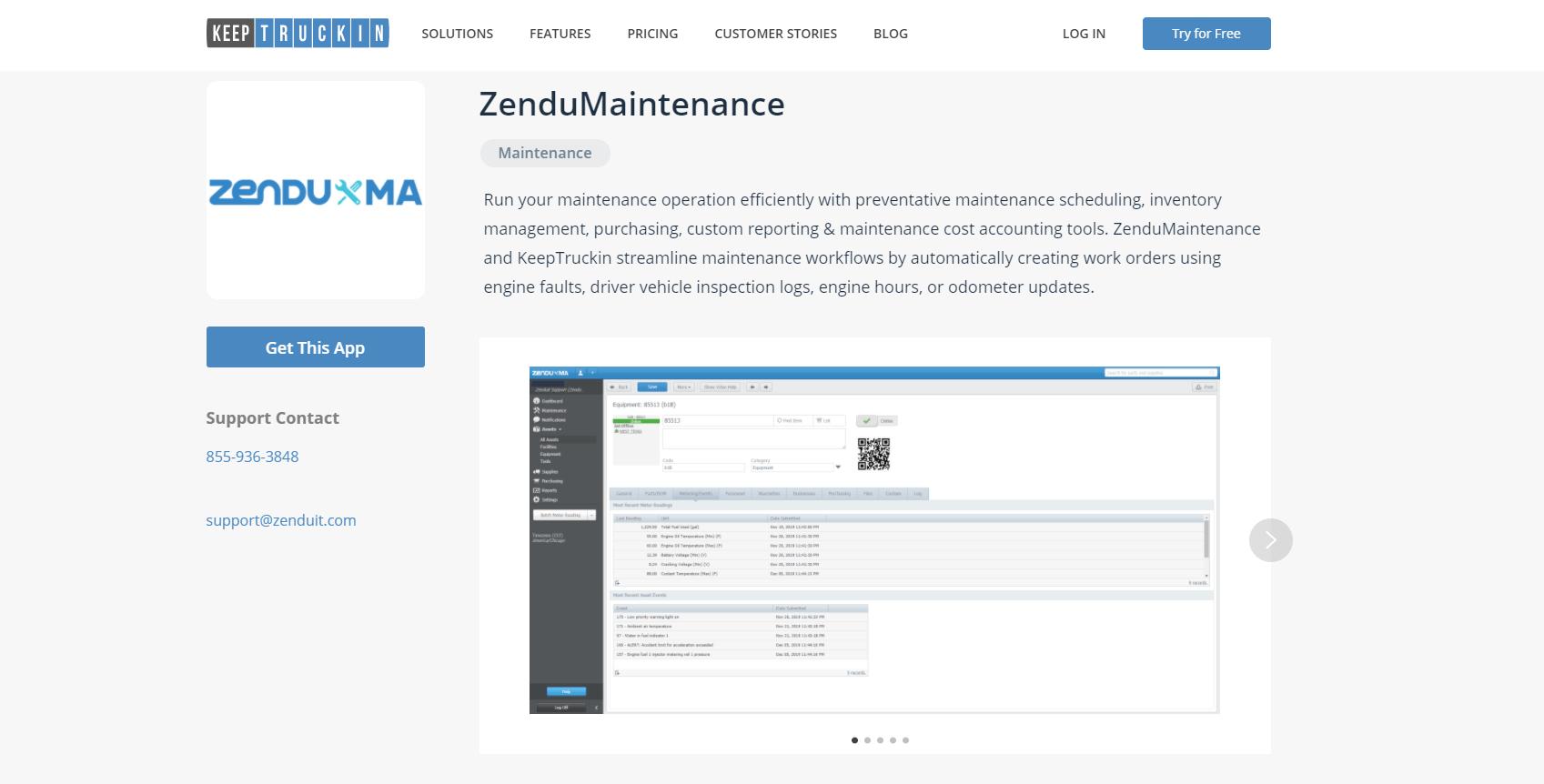 zenduma, zendumaintenance, keeptruckin, marketplace, app, marketplaces